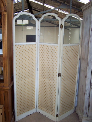 Image of French upholstered glazed wooden screen