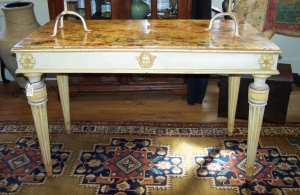 Image of Louis VI style French faux marble painted table