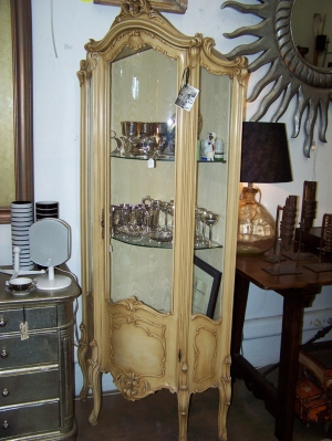 Image of French painted glazed painted corner cupboard
