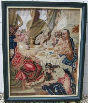 Image of Tapestry Needle point Victorian - framed