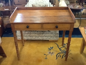 Image of Writing table Victorian 2 drawer Beech