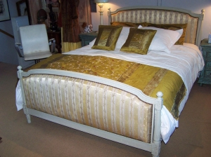 Image of French Upholstered Antique painted Queen Bed