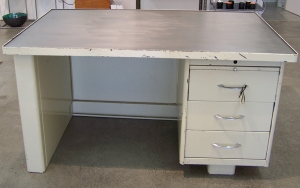 Image of Desk painted metal with polished metal top