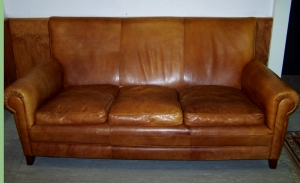 Image of Leather club 3 seater sofa