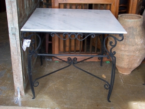 Image of Square Marble and Metal Table