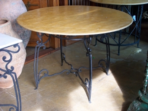 Image of Metal Table with sandstone Top