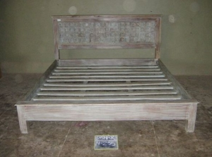 Image of King size bed made from Rajasthani door