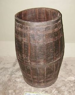 Image of Wood and Metal Rice barrel