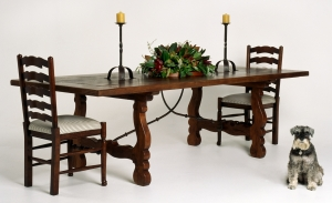 Image of Spanish Oak Table with Iron Stretcher