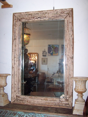 Image of Mirror with antique carved painted frame