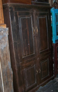 Image of Antique pannelled wooden cupboard