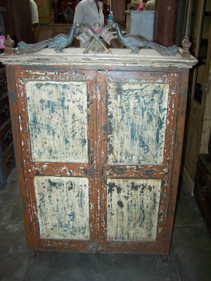 Image of Antique wood & Metal painted cupboard