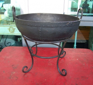 Image of Kadai metal fire bowl & stand