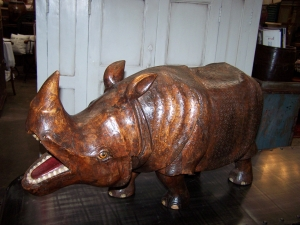 Image of Rhinoceros wooden hand carved