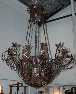Image of French style iron 12 light chandelier