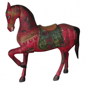 Image of Prancing Horse sculpture wooden painted red