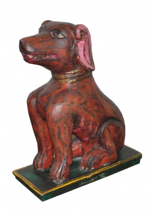 Image of Dog sculpture carved in wood