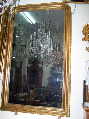 Image of French 19th Century gilded Overmantle Mirror