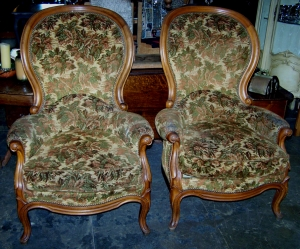 Image of French pair of Louis Philippe arm chairs