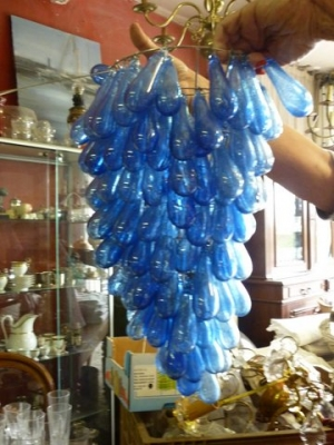 Image of French blue Grape glass chandelier