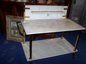 Image of French marble & brass 2 tiered trolley