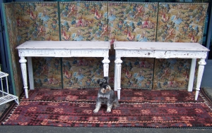 Image of French painted pair 19thC console tables