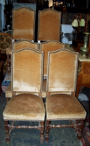 Image of French set of 6 camel back dining chairs