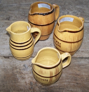 Image of French vintage pottery wine jugs