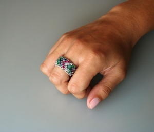 Image of Diamond, Emerald, Ruby, & Sapphire Gold Ring.