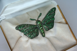 Image of Rare Green Demantoid Garnet Butterfly Gold Brooch.